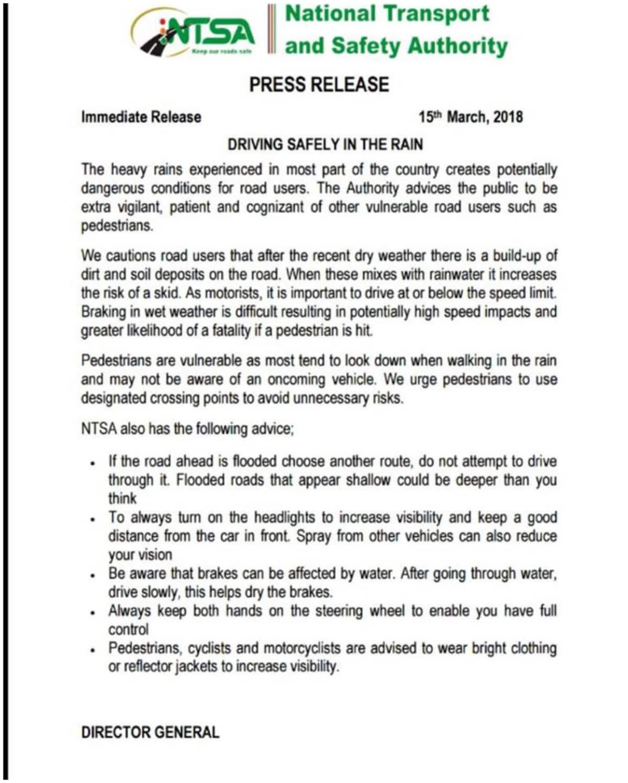 NTSA yatoa mwelekeo mpya kwa madereva katika kuwawezesha kupambana na mafuriko