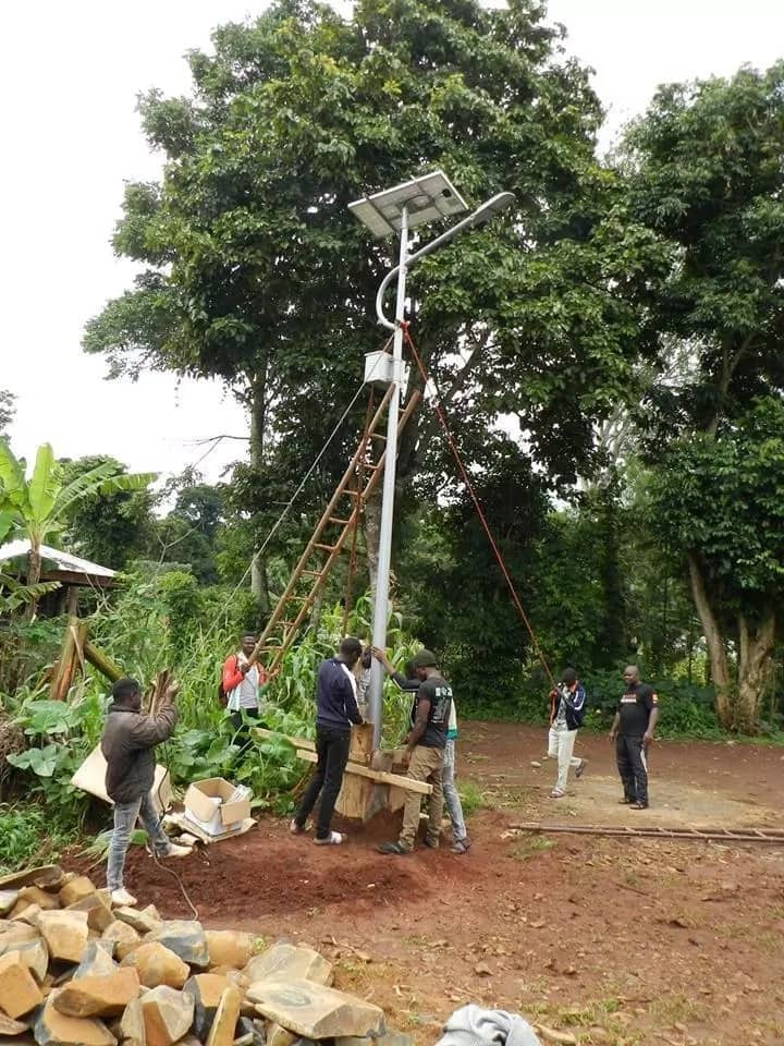 Wakam's initiative sees the youth in rural areas installing solar-powered street lighting such as this