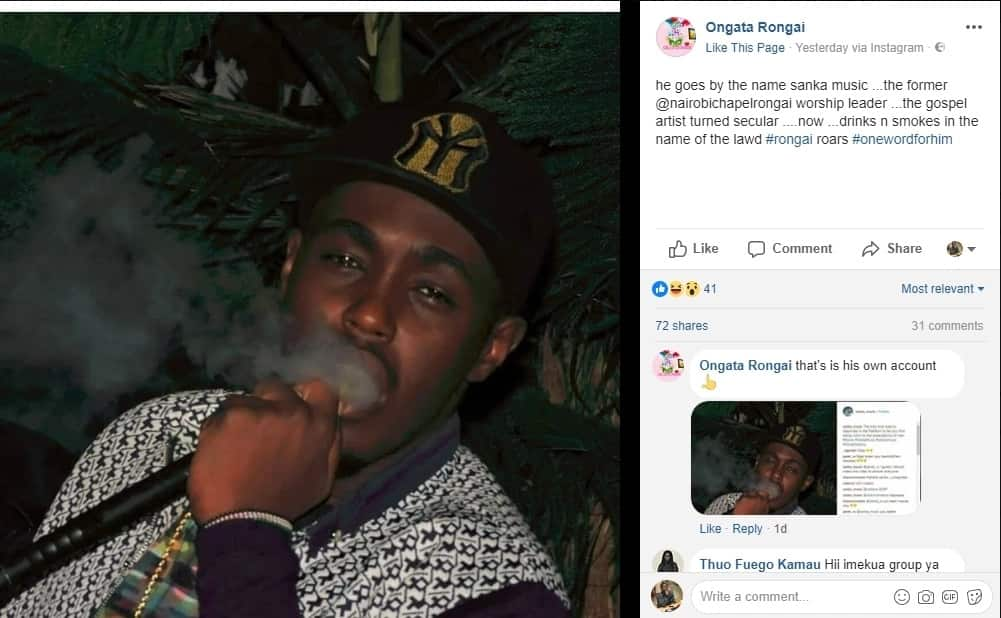 Gospel musician Sanka leaves tongues wagging after he was spotted smoking shisha in club