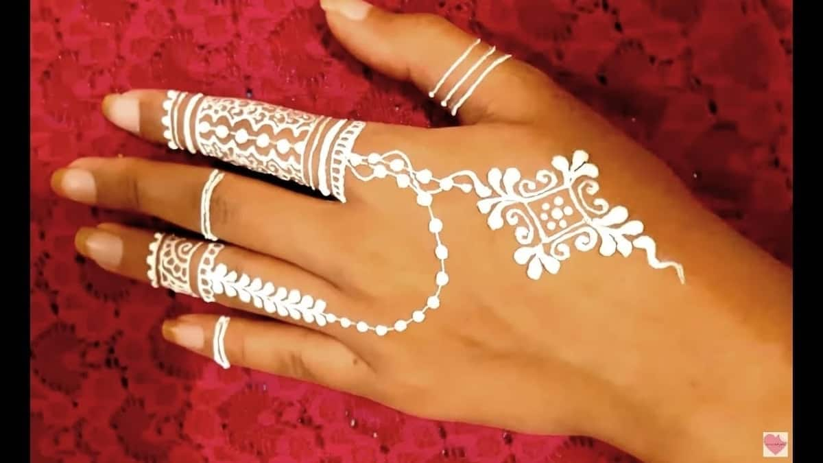 Stylish white henna designs for hands