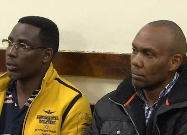 Cyrus Bernard Maina Njuguna (right) and John Njuguna Waithira during their court appearance. Photo: Daily Mail