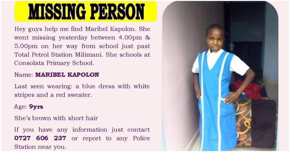 Body of Senior Magistrate's 9-year-old daughter who was abducted found in Gitoro Forest