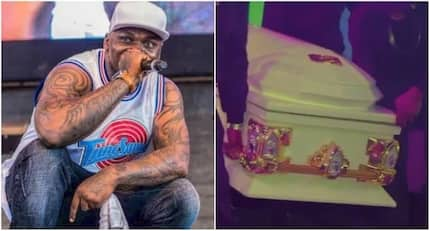 Mazishi hitmaker Khaligraph Jones leaves tongues wagging after taking to stage in a coffin