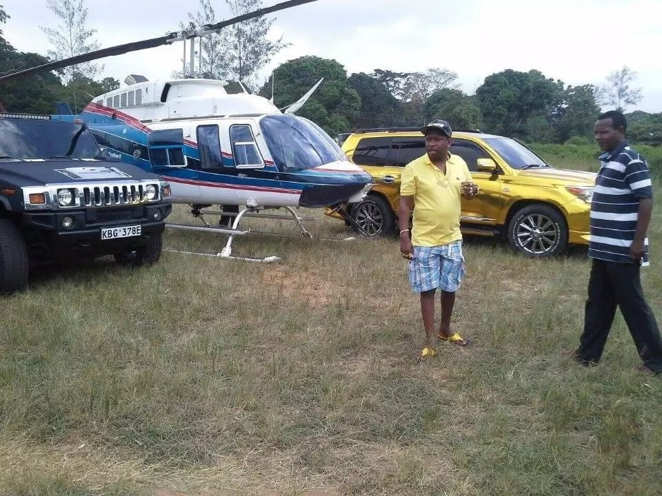 Sonko's collection includes a helicopter