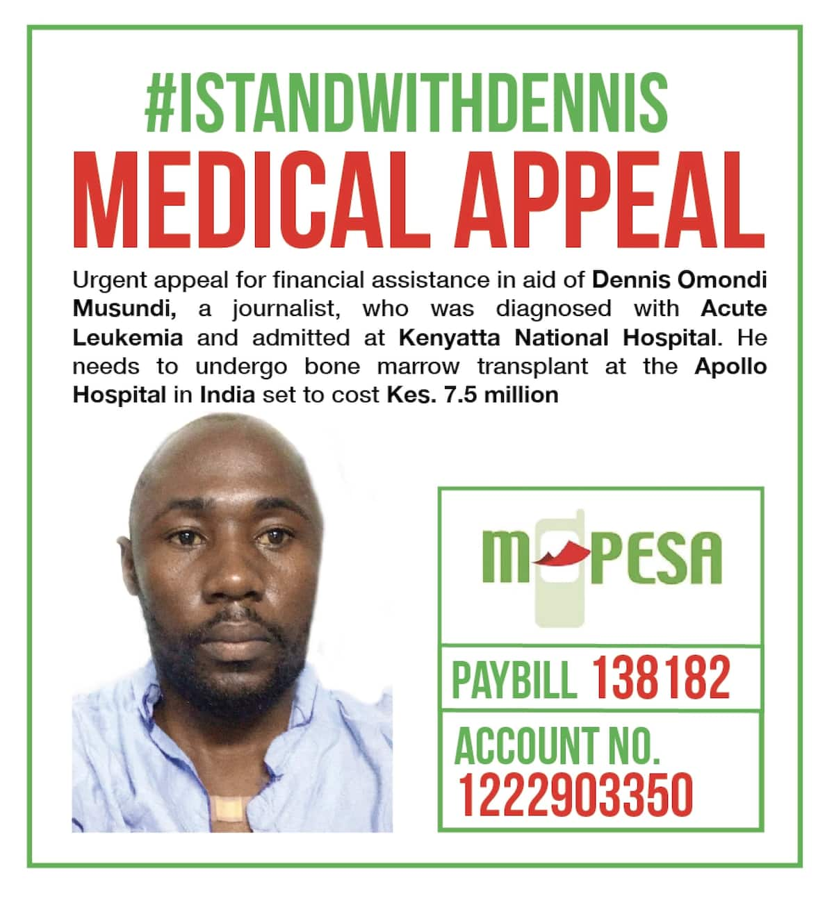 Kenyan journalist Dennis Omondi in need of urgent medical aid finally flies to India, still needs your financial assistance