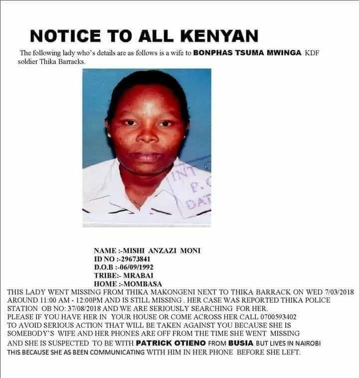 KDF officer publicises missing wife suspected to be living with new husband