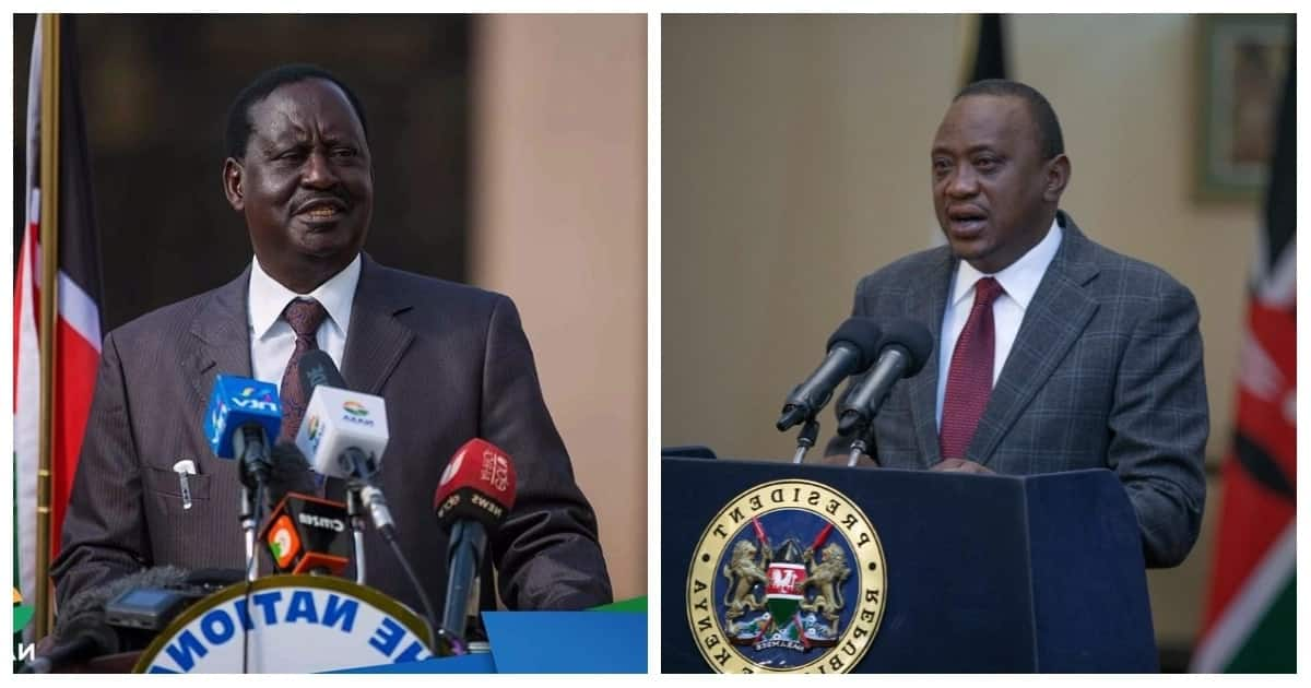 President Uhuru Kenyatta and former prime minister Raila Odinga on March 9, 2018, agreed to end their political rivalry by signing a peace agreement. Photo: TUKO.