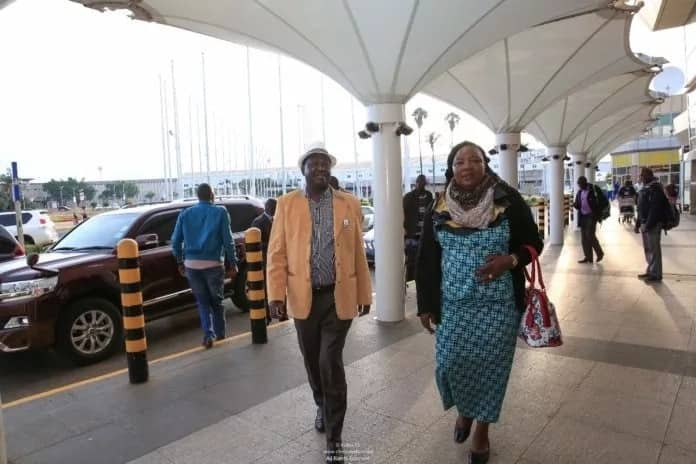 Former Prime Minister Raila Odinga and his wife Ida Odinga at Jomo Kenyatta International Airport (JKIA).