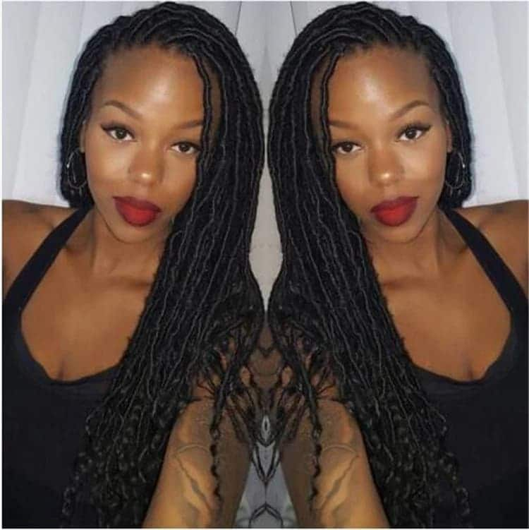 Faux locs with afro kinky hair