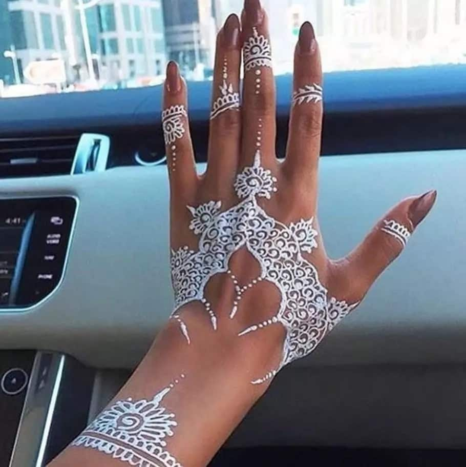Cool white henna designs for hands