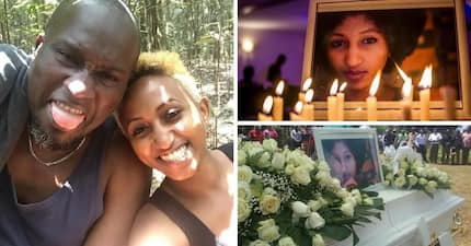 Emotional ceremony as celebrated Kenya music producer buries his wife (photos)