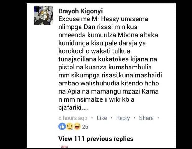 Jionee mazungumzo haya ya jambazi sugu wa humu nchini na afisa wa polisi katika Facebook, jambazi amejaa woga