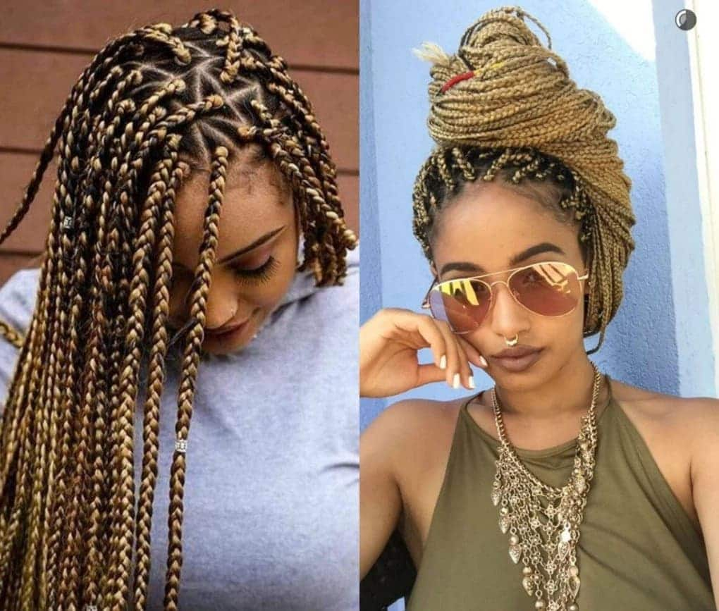 Types of braids for black women, colored braids