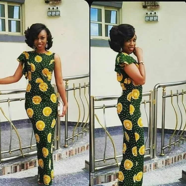 Latest kitenge long dress designs - ruffled sleeves