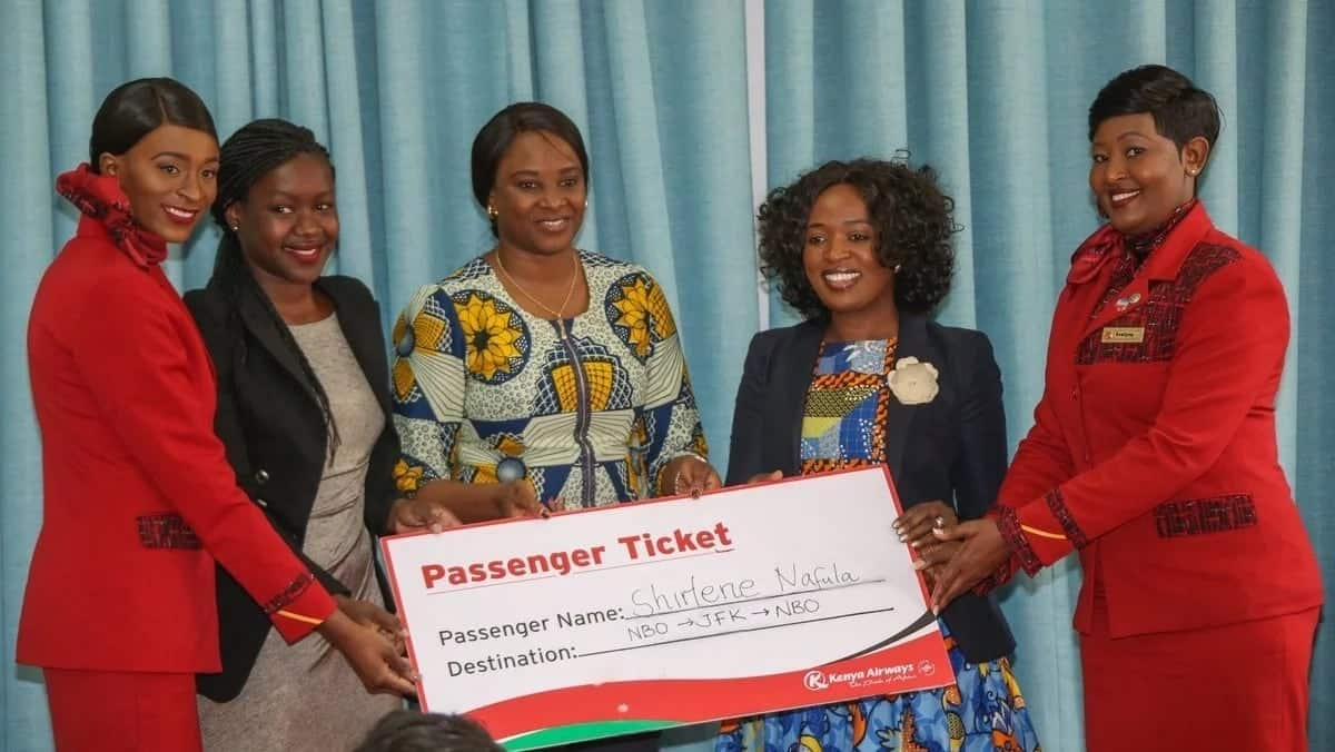 State House awards flight tickets to two youths for the inaugural Nairobi-New York flight