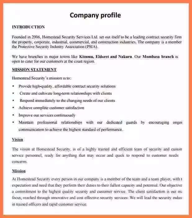 company profile sample