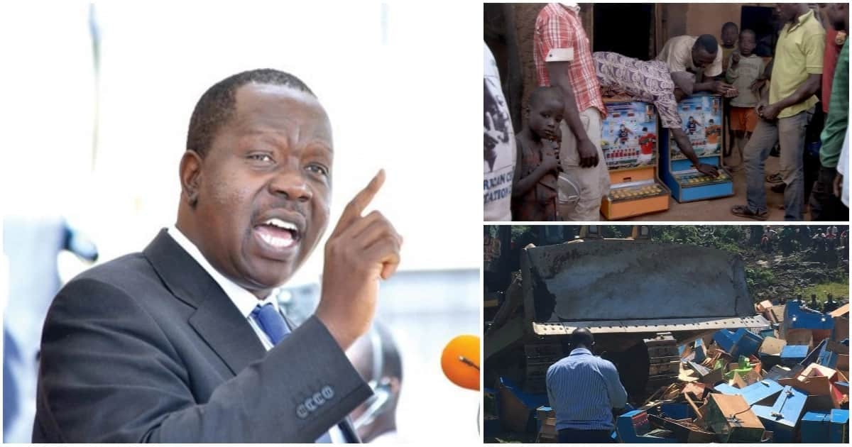 Matiang'i sets ablaze KSh 30 million betting machines as he declares war against gambling