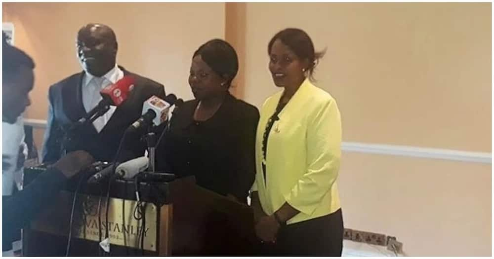IEBC Vice Chairperson Consolata Nthaka Maina Commissioners Paul Kurgat and Margaret Mwachanya addressing the press.