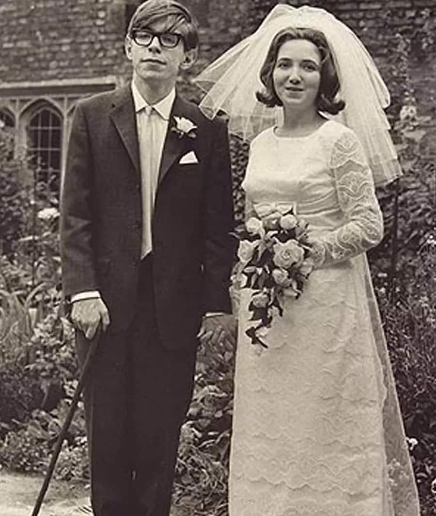 Stephen Hawking and Jane Wilde on their wedding day, July 14, 1966.