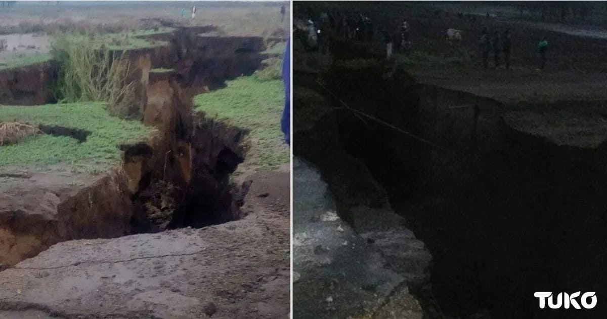 Section of Nairobi-Narok road sunk following heavy rains in the area.