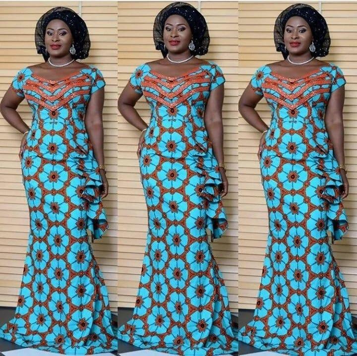 Long dress Kitenge designs for slim ladies