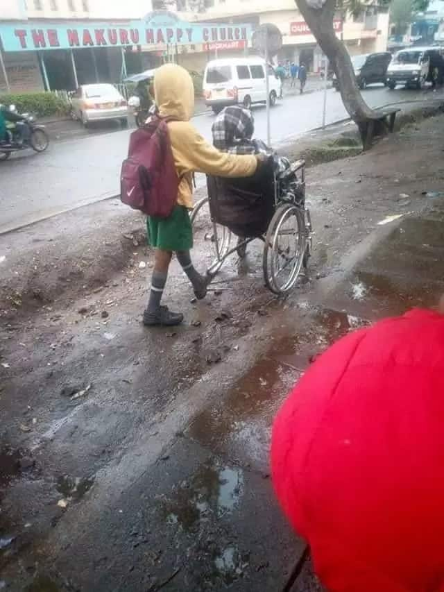 Meet the lovely kid from Nakuru who wheels his disabled mom to work before going to school