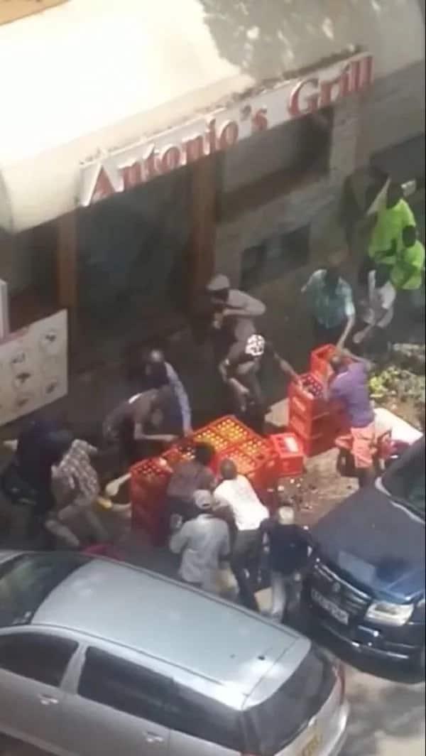 Rowdy anti-IEBC protestors loot Antonio's Grill restaurant.Photo