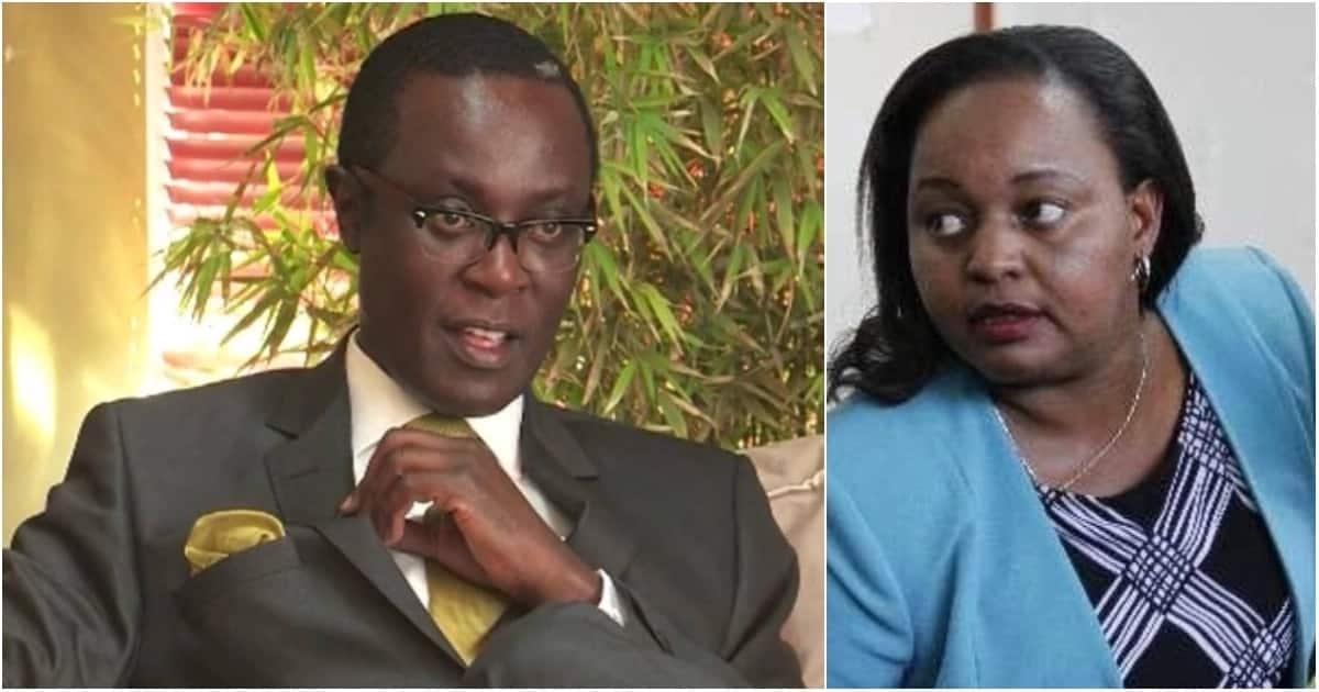 Mutahi Ngunyi (left) was accused by one Josephine Kabura of helping Anne Waiguru (right) escape. Photo: TUKO.