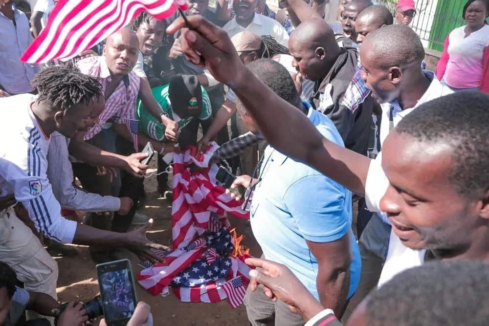 NASA youth set US flag on fire for apparently supporting Jubilee govt