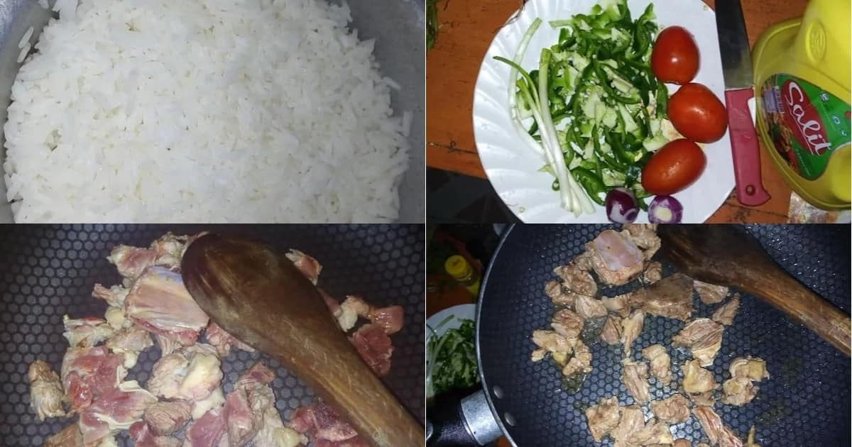 X photo-steps to cook your Pilau by first boiling rice