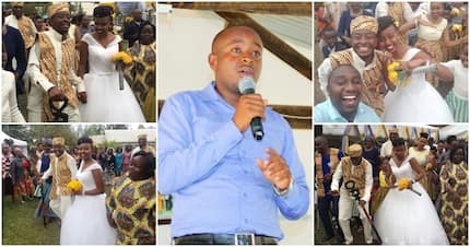 TV journalist Peter Mwangangi walks down the aisle in a pompous wedding