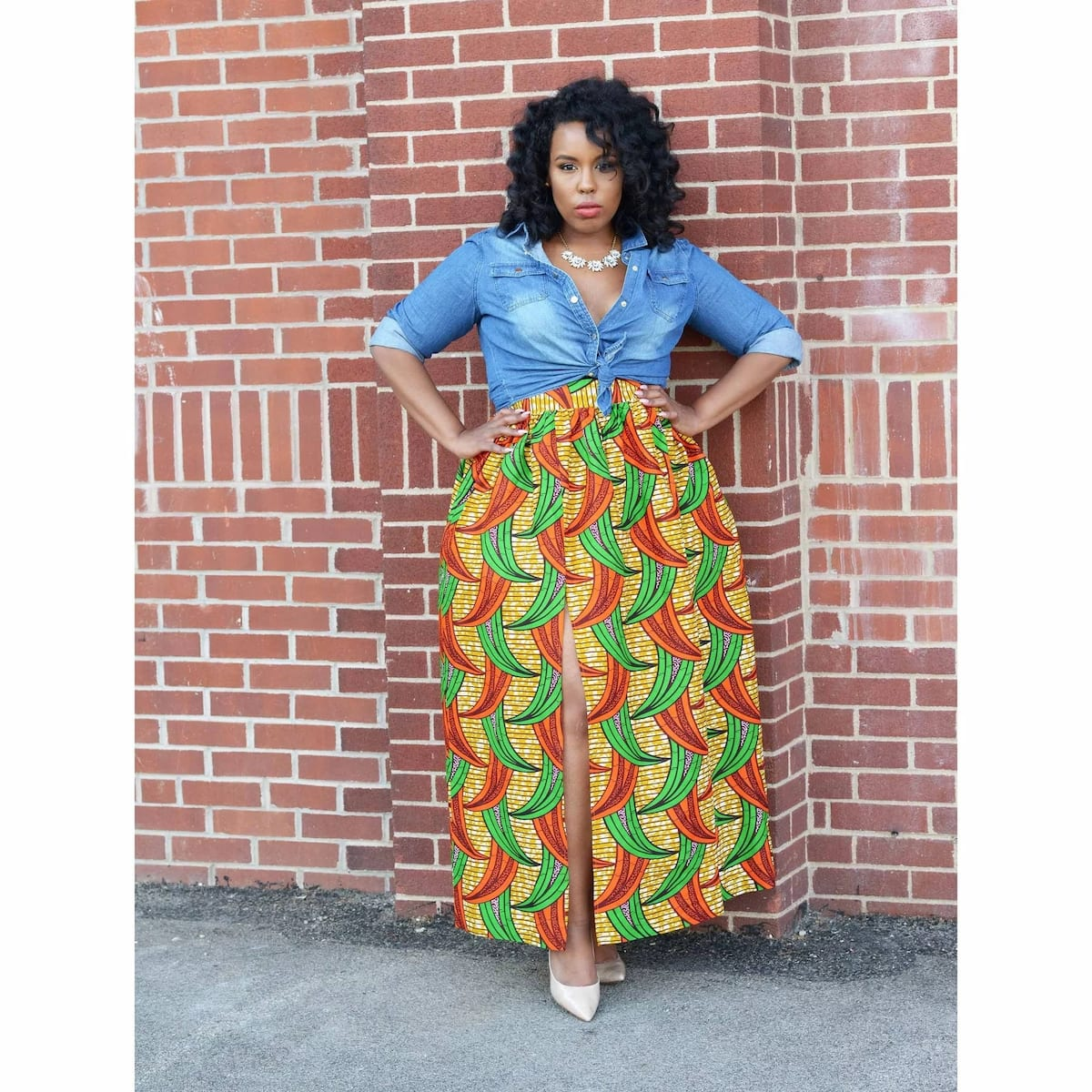 Latest Ankara maxi skirt with front cut