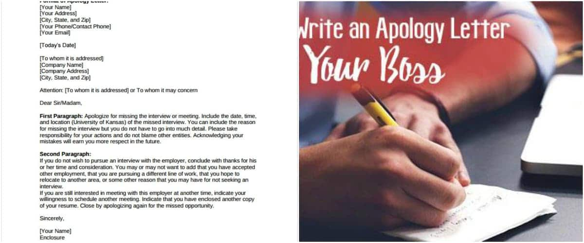 Writing an apology letter to your boss Apology letter format Write an apology letter