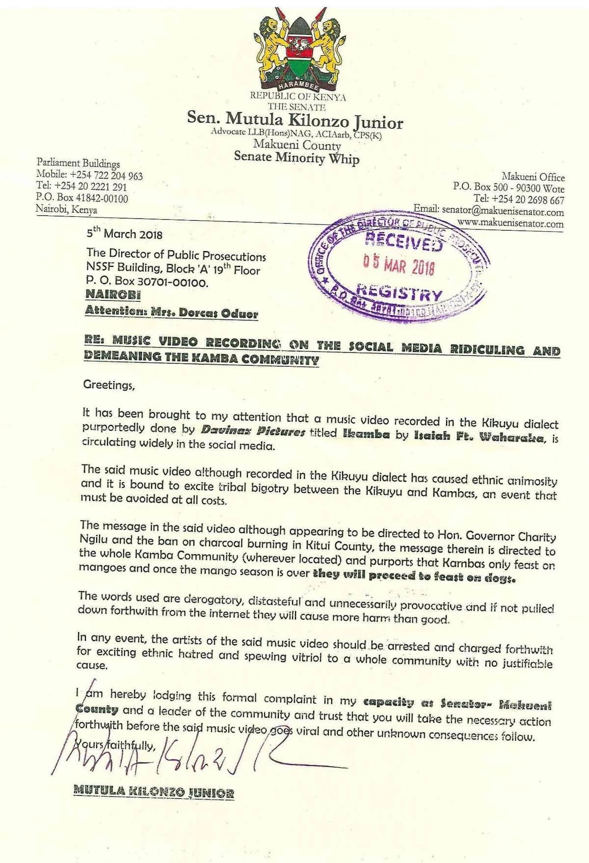 Charcoal war escalates as Makueni Senator Mutula Kilonzo steps in