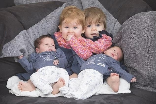 Mother, 28, sets new record by giving birth to 2 sets of twins only 11 months apart