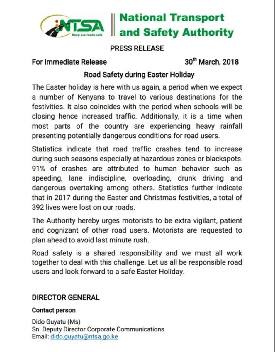 Kenyans urged to be careful on roads during Easter festivities to avoid accidents