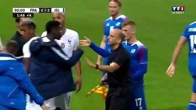 Pogba challenged Iceland player after rough tackle on Kylian Mbappe