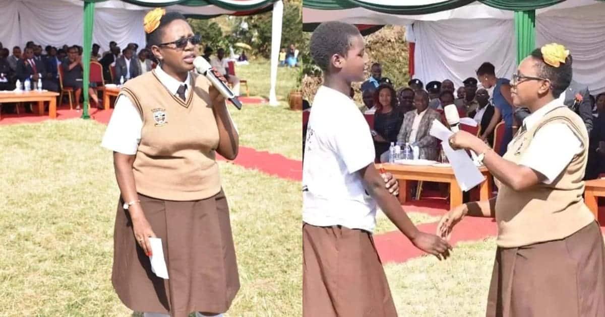 Mwakilishi wa Wanawake Murang'a ahudhuria hafla akiwa amevalia sare ya shule
