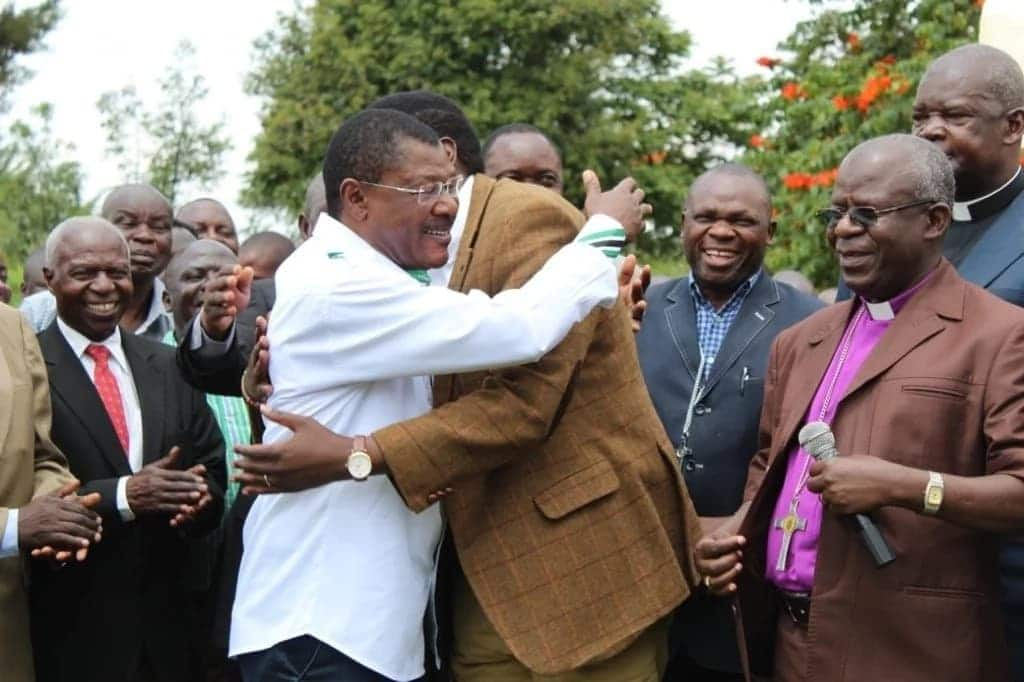 Moses Wetang'ula shakes hands with fiercest Luhya political rival Eugene Wamalwa