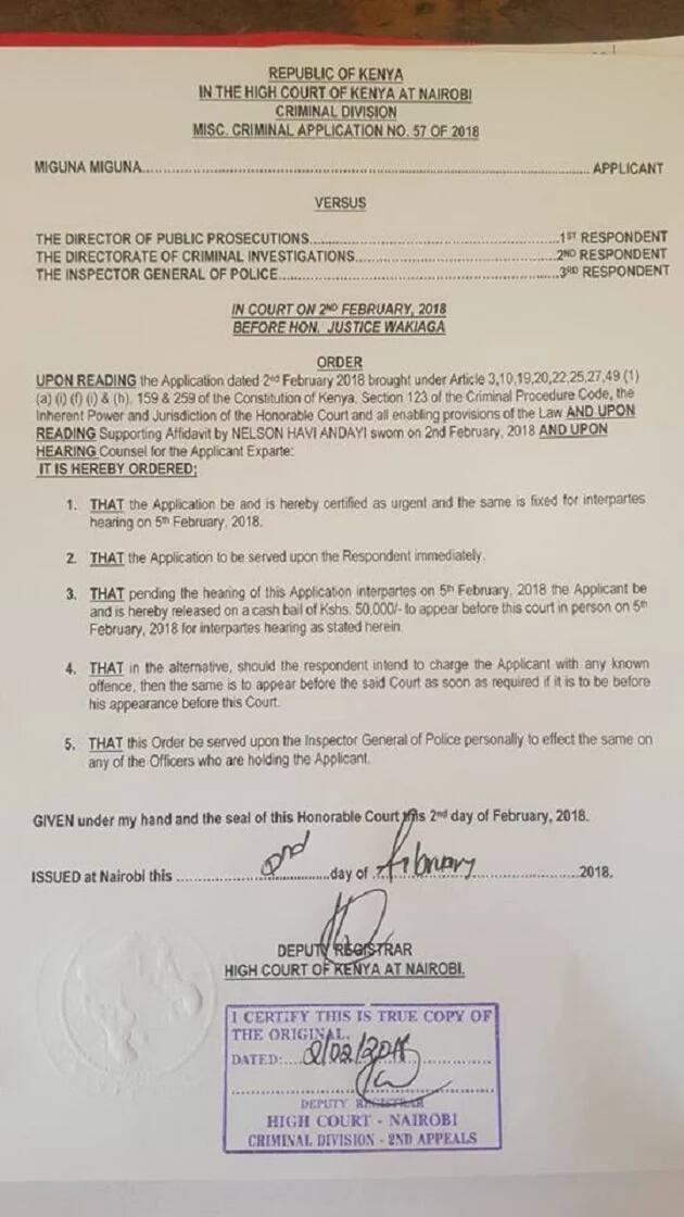 High Court orders immediate release of Miguna Miguna hours after dramatic arrest