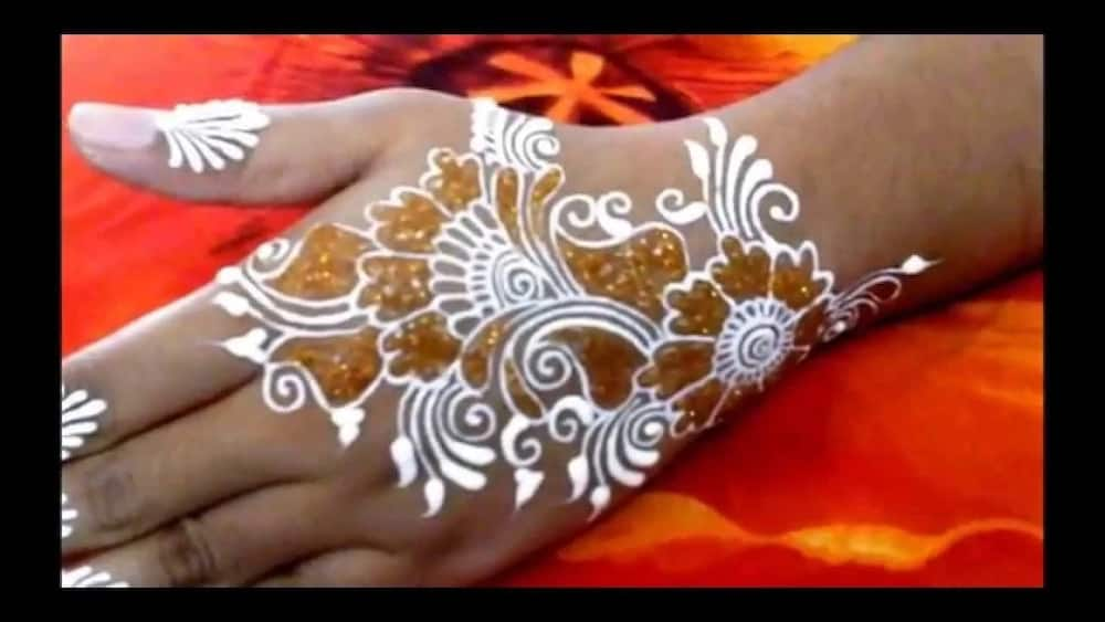 White henna designs with pearls