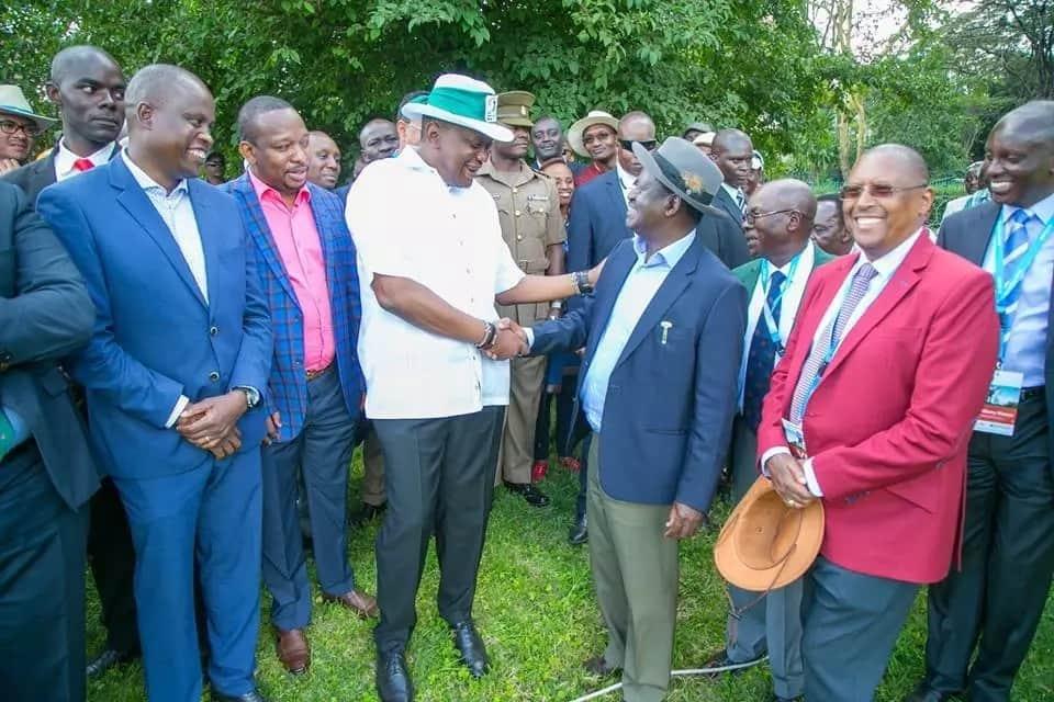 Photos of Raila-Uhuru in second warm public embrace as NASA co-principals cry foul