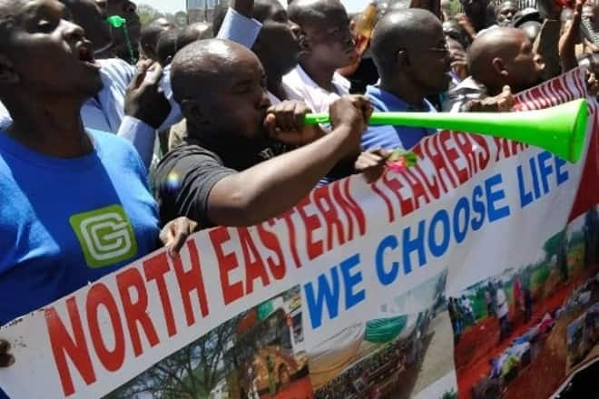 Non-local teachers working in Northern Kenya protesting over insecurity.