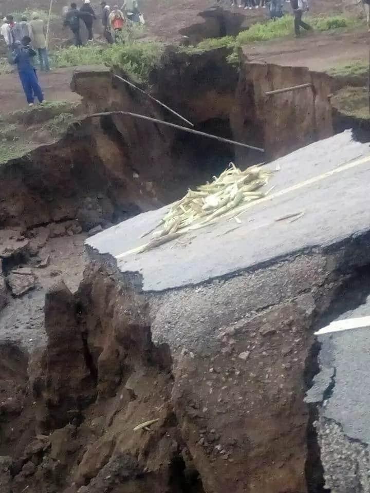 The part of the Nairobi-Narok road that sunk following heavy rains.