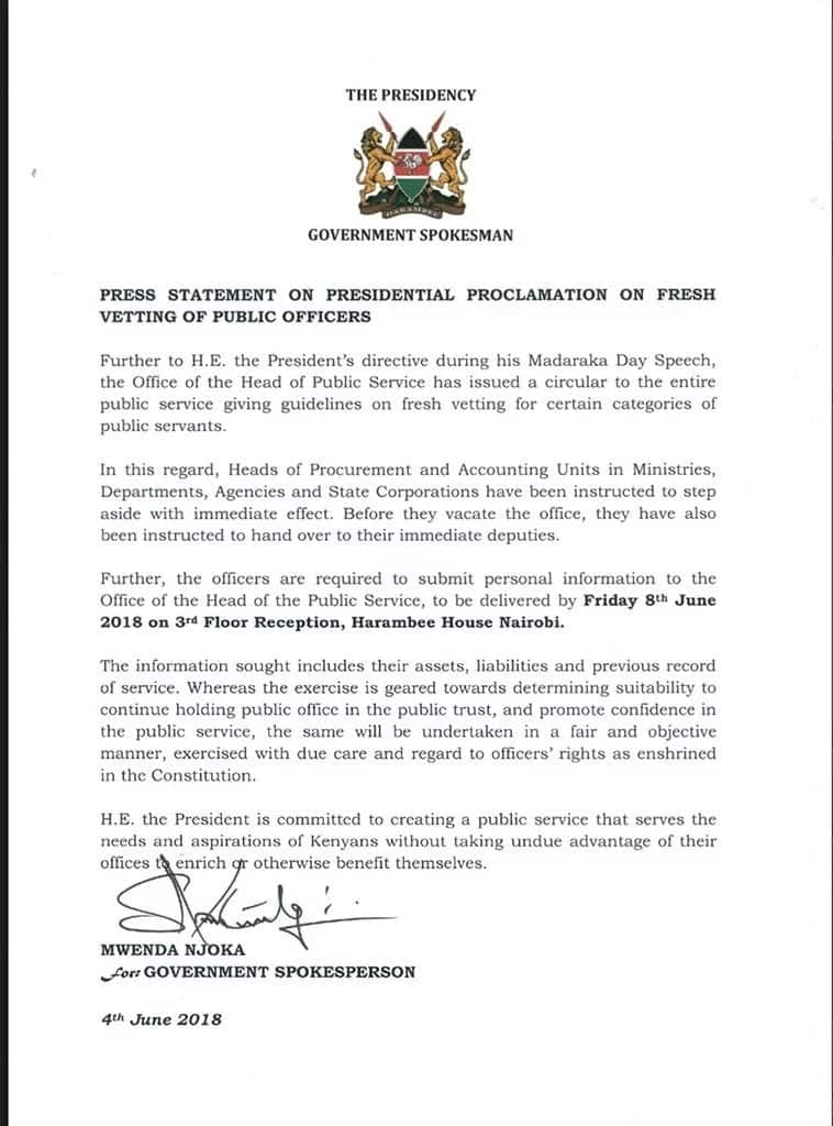 Uhuru orders all procurement, accounting officers to step aside for fresh vetting