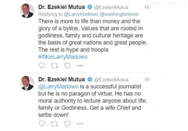 Ezekiel Mutua ampasua makonde Larry Madowo, amwambia aoe