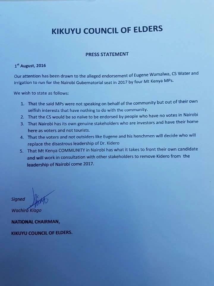 Kikuyu elders reject Eugene Wamalwa's endorsement