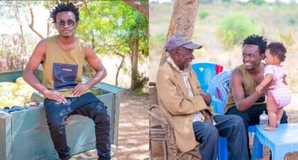 Mixed reactions as gospel singer Bahati introduces his century old grandpa to fans