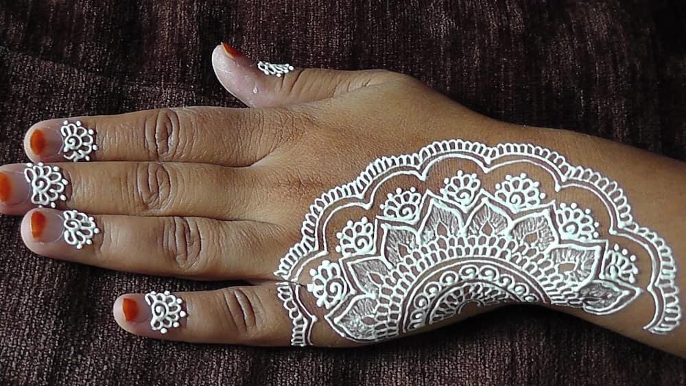 Unique white henna designs