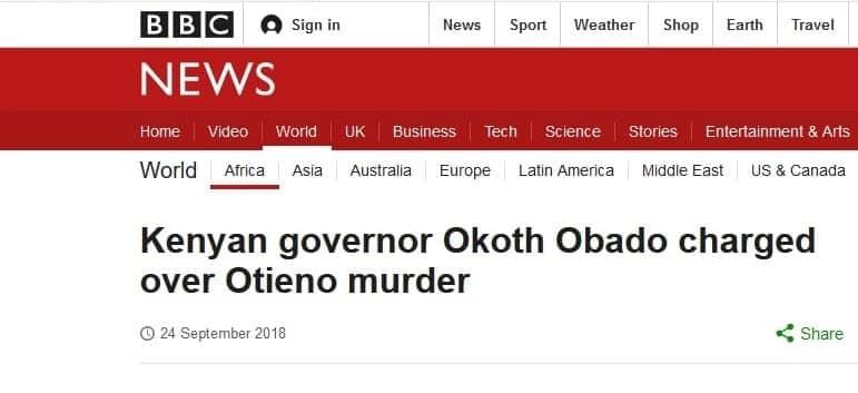 How international media reported on Okoth Obado and Sharon Otieno case